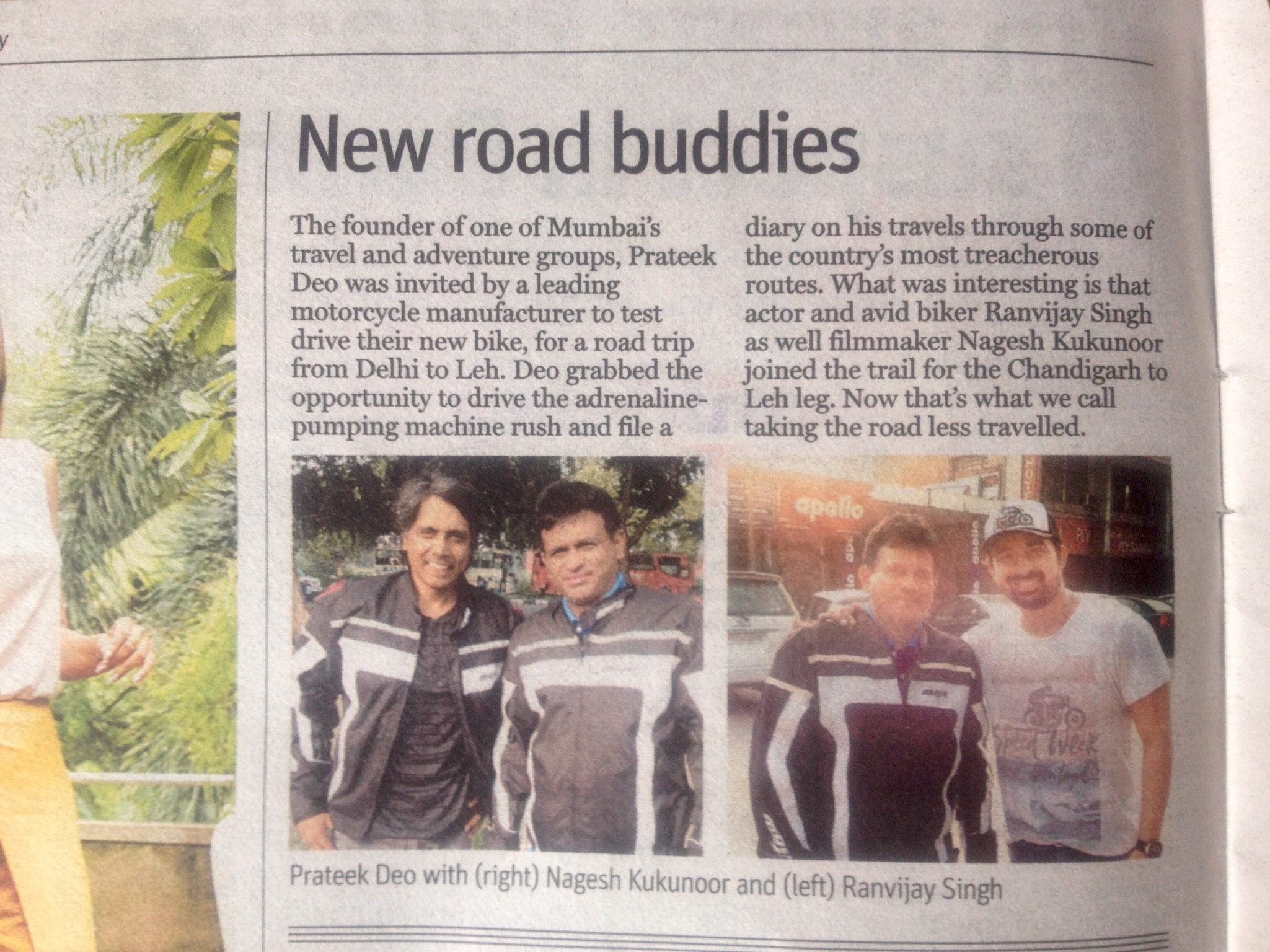 In the News - Riding with Ranvijay & Nagesh Kuknoor